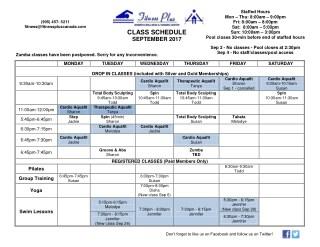 Sep 2017 class schedule