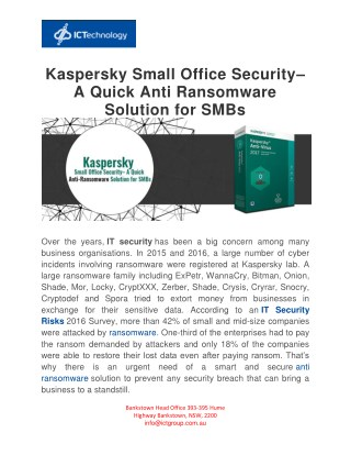 Kaspersky Small Office Security-A Quick Anti Ransomware Solution: ICTechnology