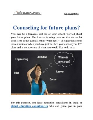Counseling for future plans?