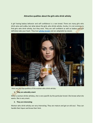 Attractive qualities about the girls who drink whisky
