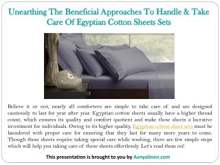 Unearthing The Beneficial Approaches To Handle & Take Care Of Egyptian Cotton Sheets Sets