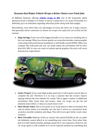 Reasons that Makes Vehicle Wraps a Better Choice