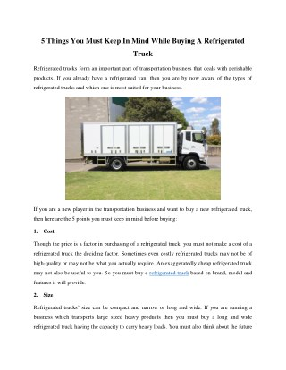 Important Things You Need to Consider While Buying A Refrigerated Truck
