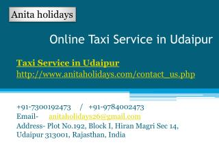 Online Taxi Service in Udaipur
