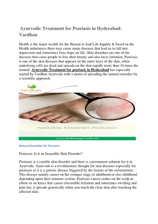 Ayurvedic treatment for psoriasis in Hyderabad: Vardhan Ayurveda