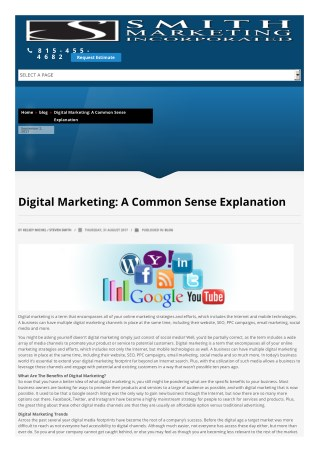 Digital Marketing: A Common Sense Explanation