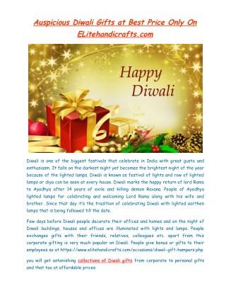 Auspicious Diwali Gifts at Best Price Only On ELitehandicrafts.com