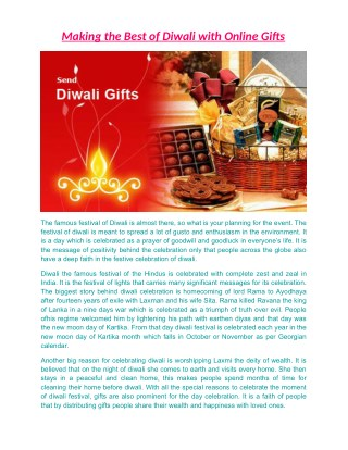 Making the Best of Diwali with Online Gifts