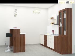 Straight modular kitchen designs By Scale Inch