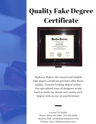 Quality Fake Degree Certificate