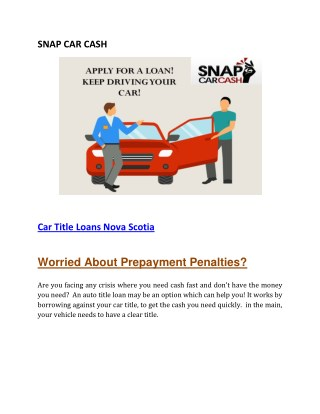 Car Title Loans Nova Scotia