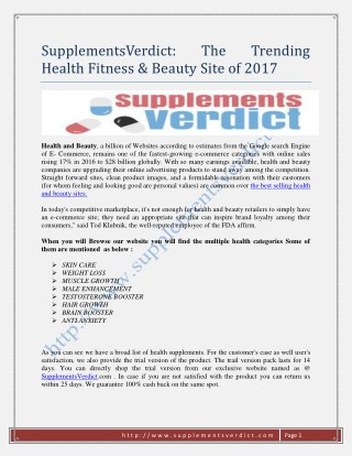 SupplementsVerdict: The Trending Health Fitness & Beauty Site of 2017