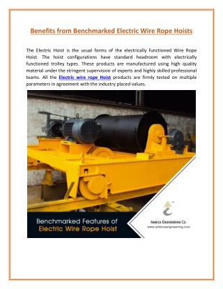Electric Wire Rope Hoist Used as Lifting Equipment in Industries