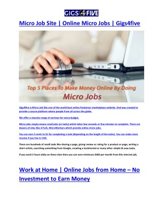 Work at Home | Online Jobs from Home – No Investment to Earn Money
