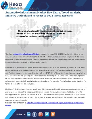 Automotive Infotainment Industry Analysis - Market Research Report , 2024