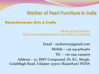 Mother of Pearl Furniture in India