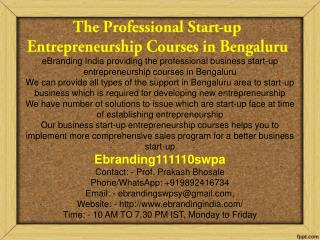 The Professional Start-up Entrepreneurship Courses in Bengaluru