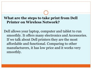 What are the steps to take print from dell printer on wireless network