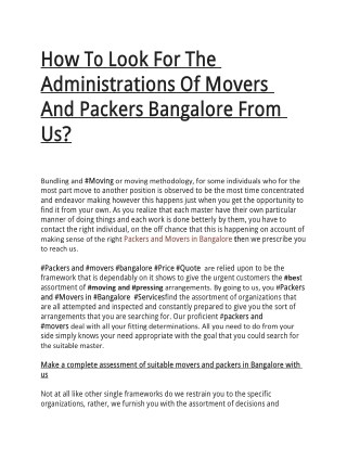 How To Look For The Administrations Of Movers And Packers Bangalore From Us?