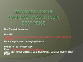 Manufacturer of Ramming mass in India best price