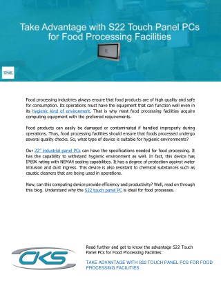 Take Advantage with S22 Touch Panel PCs for Food Processing Facilities