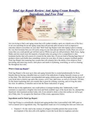 Total Age Repair Review: Anti Aging Cream Benefits, Ingredients And Free Trial