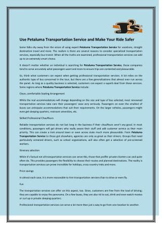 Use Petaluma Transportation Service And Make Your Ride Safer
