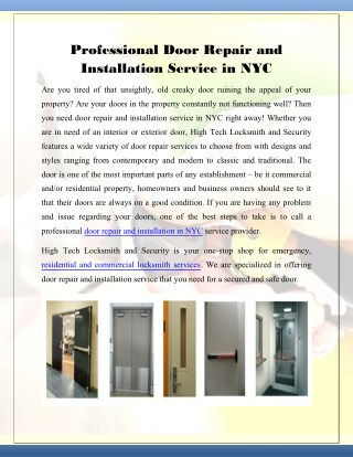 Professional Door Repair and Installation Service in NYC