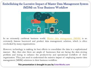 Embellishing the Lucrative Impact of Master Data Management System (MDM) on Your Business Workflow