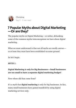 7 Myths About Digital Marketing