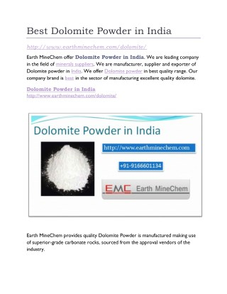 Best Dolomite Powder in India