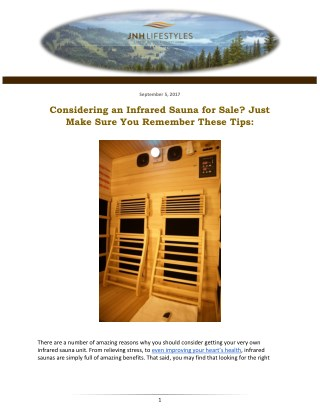 Considering an Infrared Sauna for Sale? Just Make Sure You Remember These Tips: