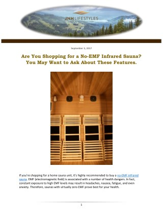 Are You Shopping for a No-EMF Infrared Sauna? You May Want to Ask About These Features.