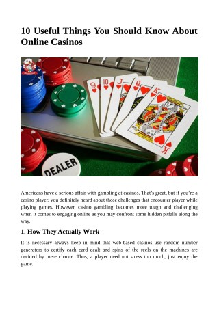 10 Useful Things You Should Know About Online Casinos