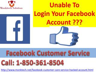 Unable To Login FB Account? Call Facebook Customer Service 1-850-361-8504
