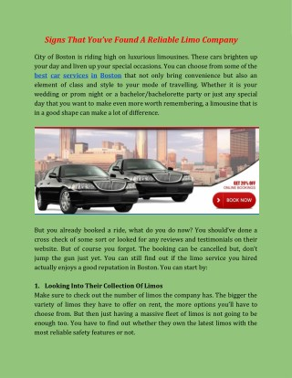 Signs That You've Found A Reliable Limo Company - Car Service In Boston