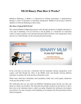 MLM Binary Plan How it Works?