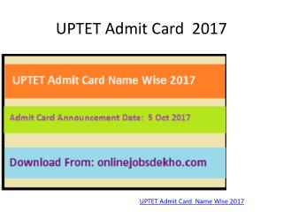 UPTET Admit Card Name Wise 2017