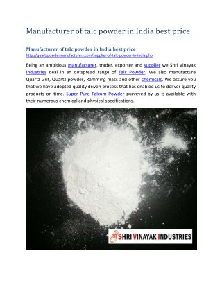 Manufacturer of talc powder in India best price