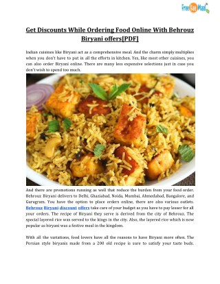 Ppt Get Discounts While Ordering Food Online With Behrouz