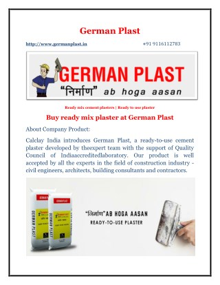 German Plast, Ready Mix Cement Plasters | Ready to use Plaster | Ready to use plaster for walls | Ready Mix Plaster | Re