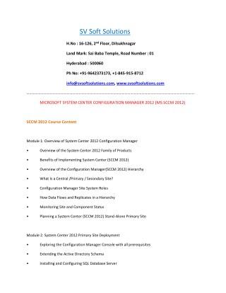 Best MS SCCM Online Training   SV Soft Solutions