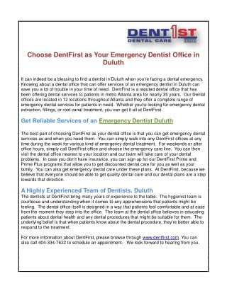 Choose DentFirst as Your Emergency Dentist Office in Duluth
