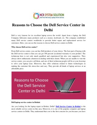 Reasons to Choose the Dell Service Center in Delhi