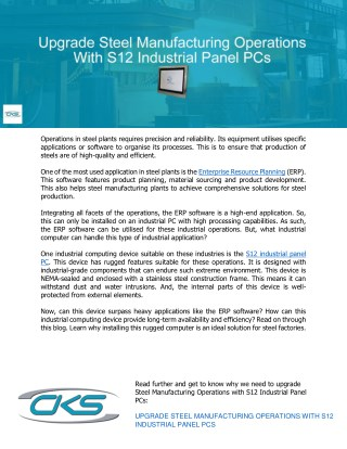 Upgrade Steel Manufacturing Operations With S12 Industrial Panel PCs