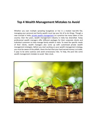 Top 4 Wealth Management Mistakes to Avoid
