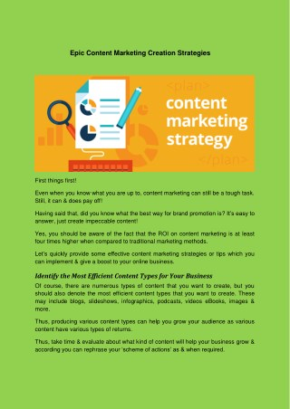Epic Content Marketing Creation Strategies