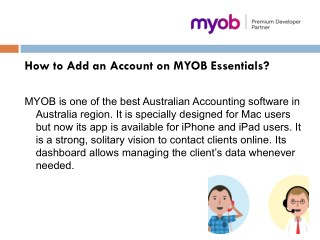 How to add an account on MYOB essentials?