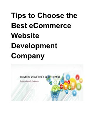 Tips to Choose the Best eCommerce Website Development Company