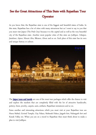 See the Great Attractions of This State with Rajasthan Tour Operator